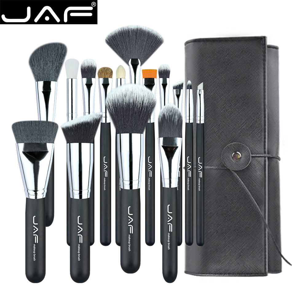 JAF 15pcs Makeup Brushes Tools, Conveniently Portable Make Up Brush Set, Brand Cosmetic Makeup Kit, Free Dropshipping J1531YC-B