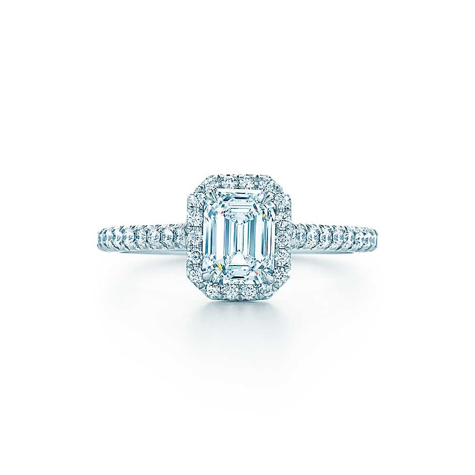 emerald cut diamond ring price emerald cut wedding rings Real Solid 18K White Gold 1CT Emerald Cut Cushion Shape simulate Diamond Woman Gold Ring good