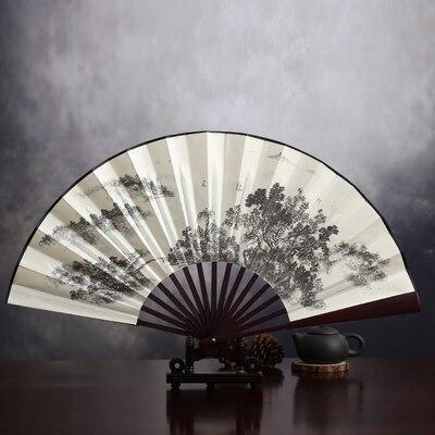 """1"""" украшенный Шелковый складной Ручной Веер человек большой бамбуковый китайский Печатный веер из ткани традиционное ремесло свадебные сувениры веер - Цвет: huifenghechang"""