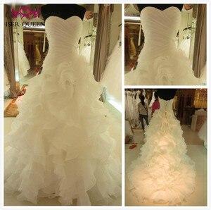 Image 2 - Vestidos de novia de sirena con volantes Falda plisada vestido de novia de sirena blanco puro 2020 vestido de novia de marca Africana W0153