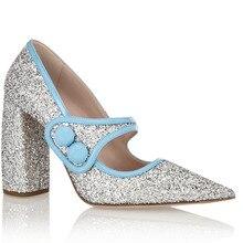 Shofoo Frauen Silber Glitter Punkt Toe Schnalle Pumpen Mid High Heels Schuhe Frau, Plus größe 5-14