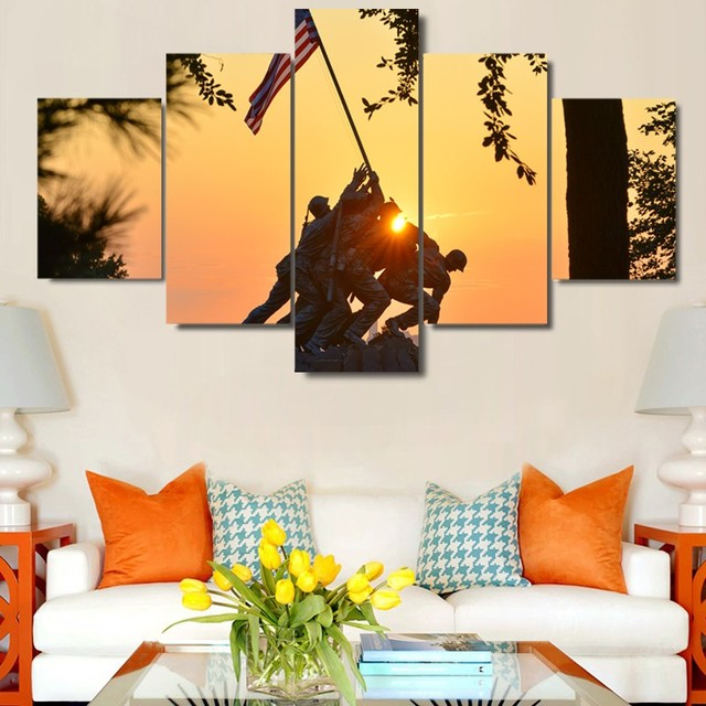 5 Panel Large HD Printed Canvas Oil Painting The American Flag Print Art  Home Decor Wall