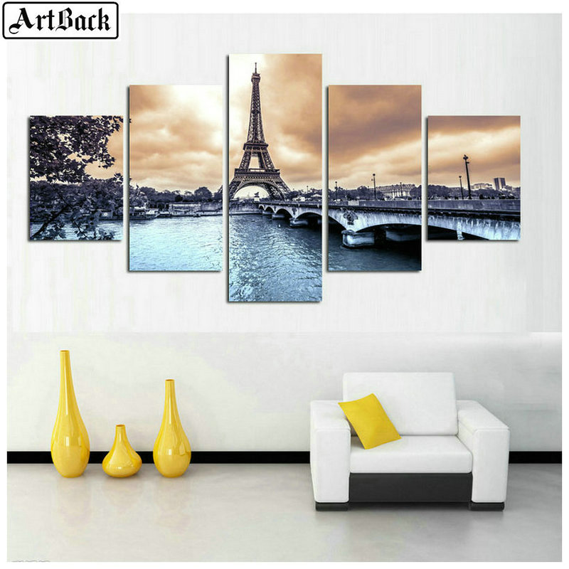 ARTBACK 5d Diamond Painting Paris Tower Landscape Picture for Living Room Decoration Full Square Drill Diamond Mosaic Kit