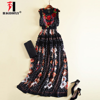 HAGEOFLY Black Maxi Dress Three Dimensional Embroidery Flowers Playing Cards Printed dresses New Designer Fashion Women's Dress