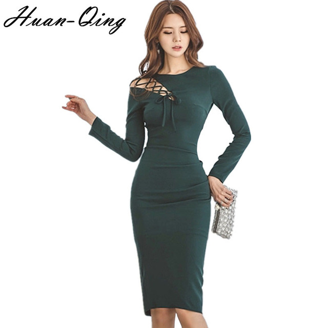 d496c333095 Sexy Lace up Hollow Out Party Pencil Dress Korean Spring Women Long Sleeve  Package Hip Office Back Split Bodycon Dresses Vestido-in Dresses from ...