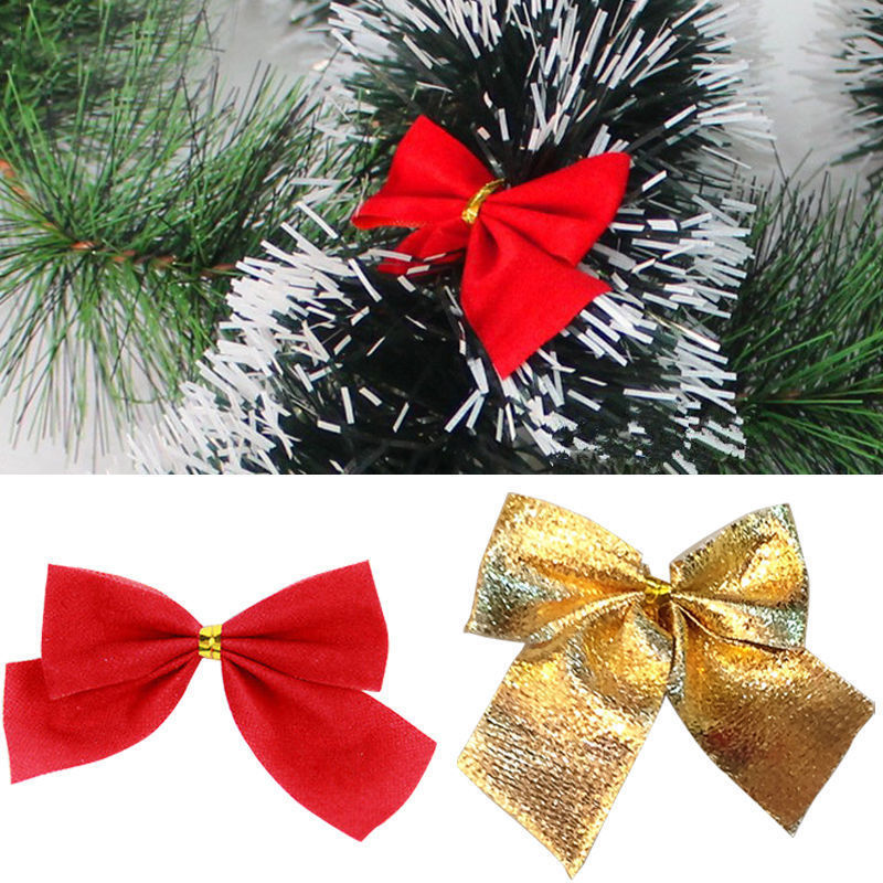 Christmas Tree Bows Red.Us 1 5 5 Off 24pcs Xmas Bow Red Gold Silver Christmas Tree Bows Decoration New Year Ornaments For Home Christmas Festival Decoration In Christmas
