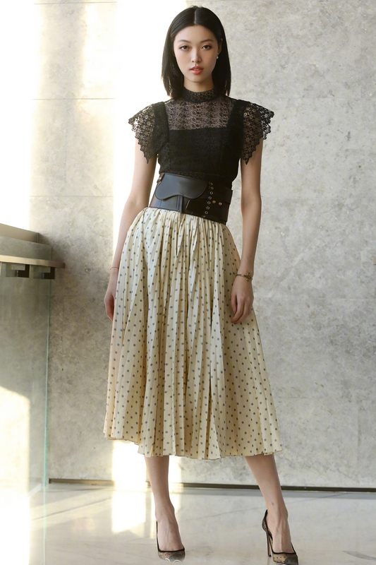 Femmes mode noir dentelle mousseline de soie dot print longue robe marque piste sans manches large ceinture plissée robes nouveau 2019 printemps