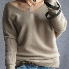 Plus Size 4XL Autumn Winter Cashmere Sweater Women Fashion Sexy V-neck Loose 100% Wool Sweater