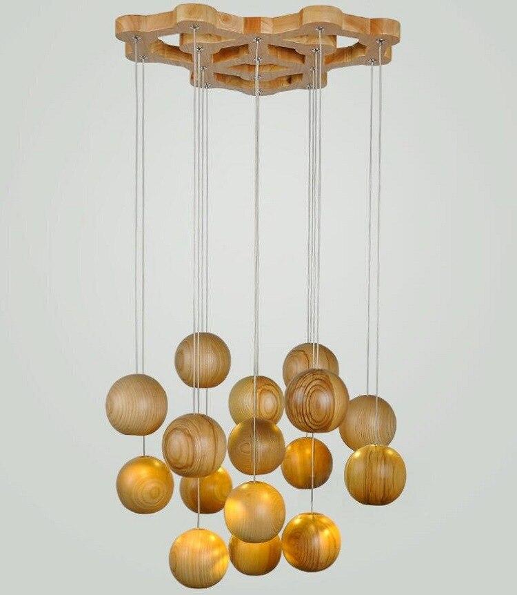 Beroemd Moderne Houten Lamp Hout Kroonluchter Bal Led Licht Boom Lampen  ZC13
