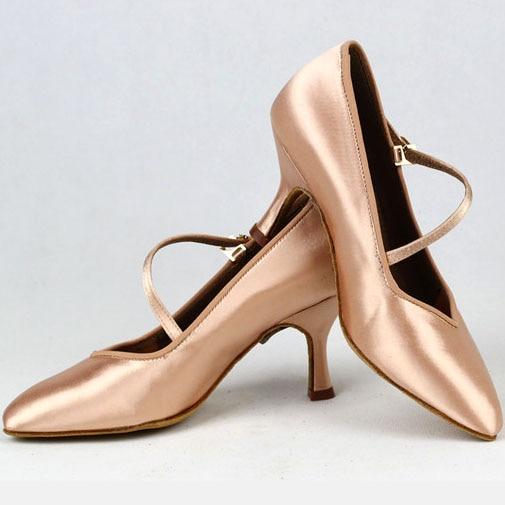 Femmes Standard chaussures de danse BD 138 Classique Frais Tan Satin Haut Bas Talon Dames Salle De Bal chaussures de danse Semelle Souple De Danse Moderne - 5
