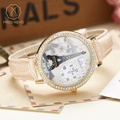 Miss Keke Children Girls Cartoon-Watch Diamond Leather Casual Watch 3D Clay Eiffel Tower Handmade Clock Student Wristwatch 1810