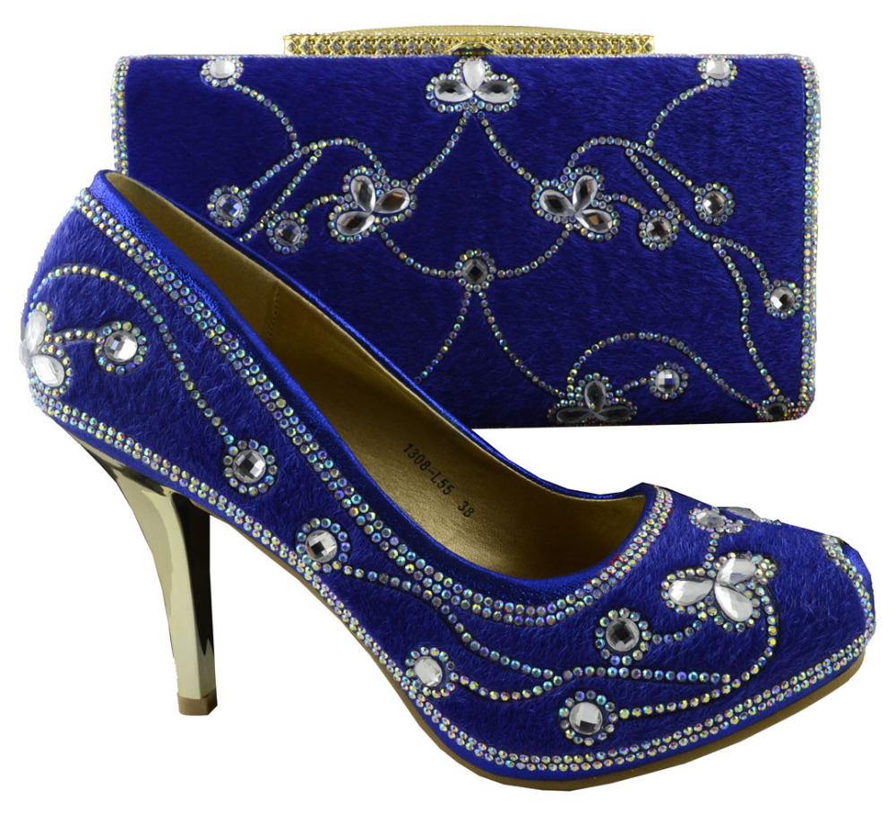 1308-L55 Royal blue color Matching shoes and bag set,Free shipping for High quality shoes with matching bag for 1308-L55