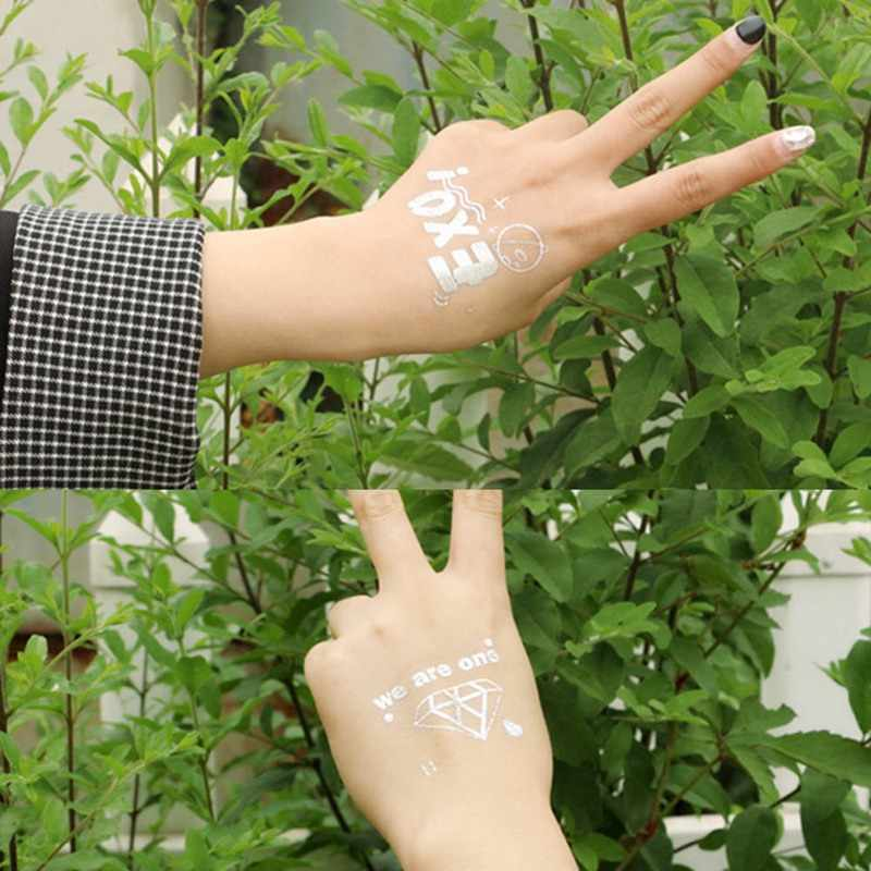 1 Pcs EXO ชั่วคราว Tattoo สติกเกอร์เงินร้อน Body Face Arm แฟนดาวกันน้ำสติกเกอร์พัดลมของขวัญ