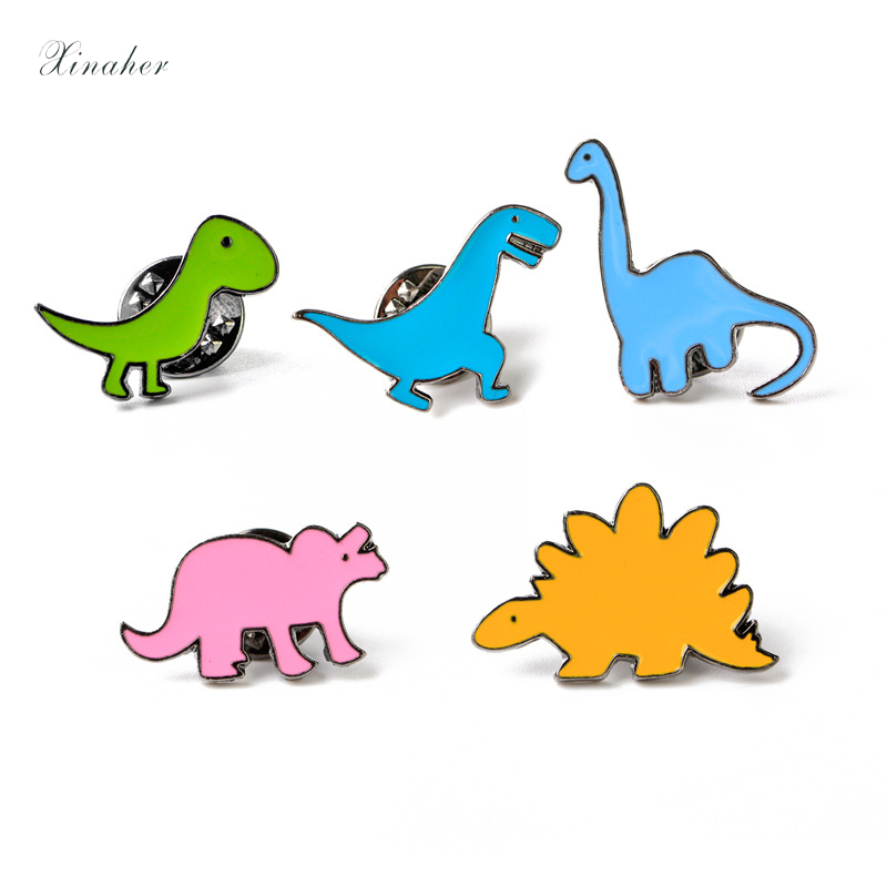 Home & Garden Rapture Xinaher 1pc Cartoon Dinosaur Metal Badge Brooch Button Pins Denim Jacket Pin Jewelry Decoration Badge For Clothes Lapel Pins To Have A Unique National Style