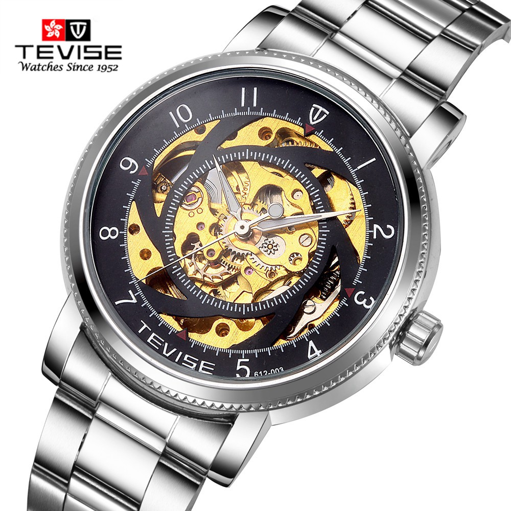 TEVISE Automatic Mechanical Watches Men Brand Luxury White/Black Case Stainless Steel Skeleton Watch relogios masculino ultra luxury 2 3 5 modes german motor watch winder white color wooden black pu leater inside automatic watch winder