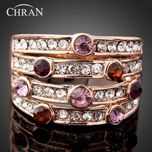 Chran Austrian Crystal Gold Color AAA Cubic Zirconia Statement Party Jewelry Elegant Crystal Wedding Rings for Women 18k gold jewelry cubic zirconia rose gold color wedding austrian crystal rings fashion heart ring for women gift 1 82g