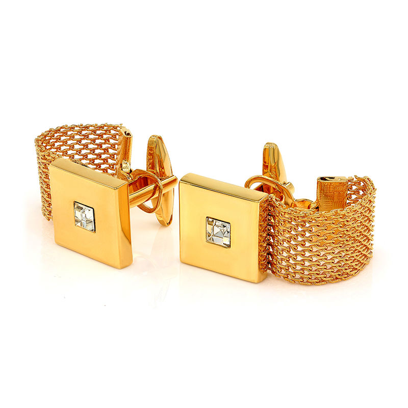 Luxury Gold-color Chain Cufflinks with Crystal Mens Cuff Links for Wedding Wholesale Gift