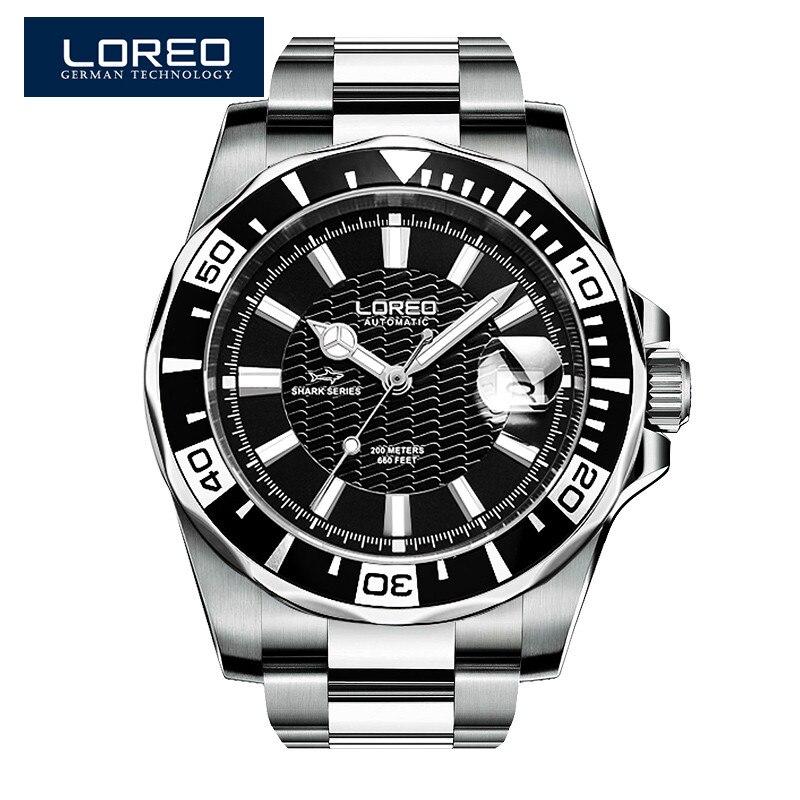 LOREO Alemanha Diver 200 m Relógio Mecânico Automático Relógios Homens Marca De Luxo Do Exército K28 Milan Cinza Luminoso Relogio masculino
