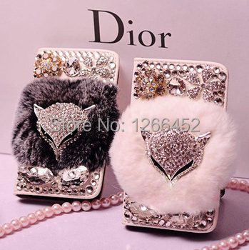 Real rex Rabbit Fur Plush Fox Head Rhinestone Bling Flip Leather Wallet Case Samsung Galaxy S3 S4 S5 Note 2 3 4 Grand2 G7016 - Alice Trading Company LMT store