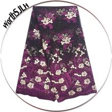 3D Latest Beaded French Lace Fabrics 2018 African Tulle Fabric Magenta Fushia Pink Cord Net Luxury 5 Yards