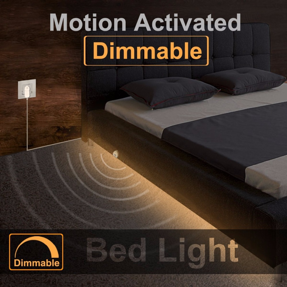 Dimmable Bed Light with Motion Sensor Night Light Strip, Under Bed Light Motion Activated LED Strip for Baby room Stairs Cabinet motion activated bed light flexible led strip motion sensor night light kit for bed hallways stairs under cabinet baby room door