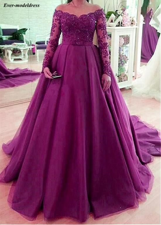 Purple Off Shoulder   Prom     Dresses   Long Sleeves Beaded Lace Up Back Sweep Train Long Evening Party Gowns Robe De Soiree