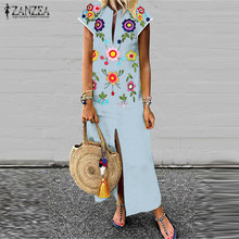 Plus Size  Print Maxi Dress Womens Summer Sundress 2019 ZANZEA Female V Neck Long Vestisos Short Sleeve Split Robe Femme