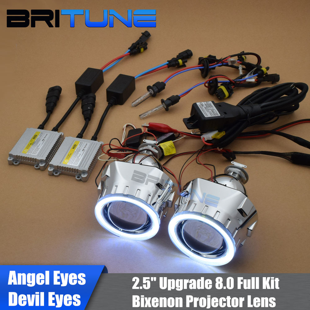 Upgrade 8 0 Mini 2 5 HID Bi xenon Headlight Projector Lens W LED DRL Angel