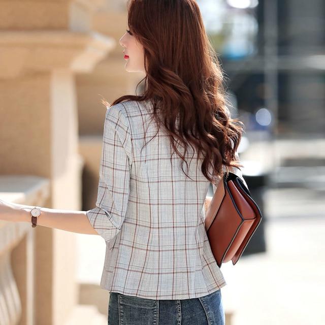 PEONFLY Elegant Autumn Turn Down Collar Slim Plaid Blazer Jacket Half Sleeve Office Lady Woman Suits Slim Casual Buckles Coat 5