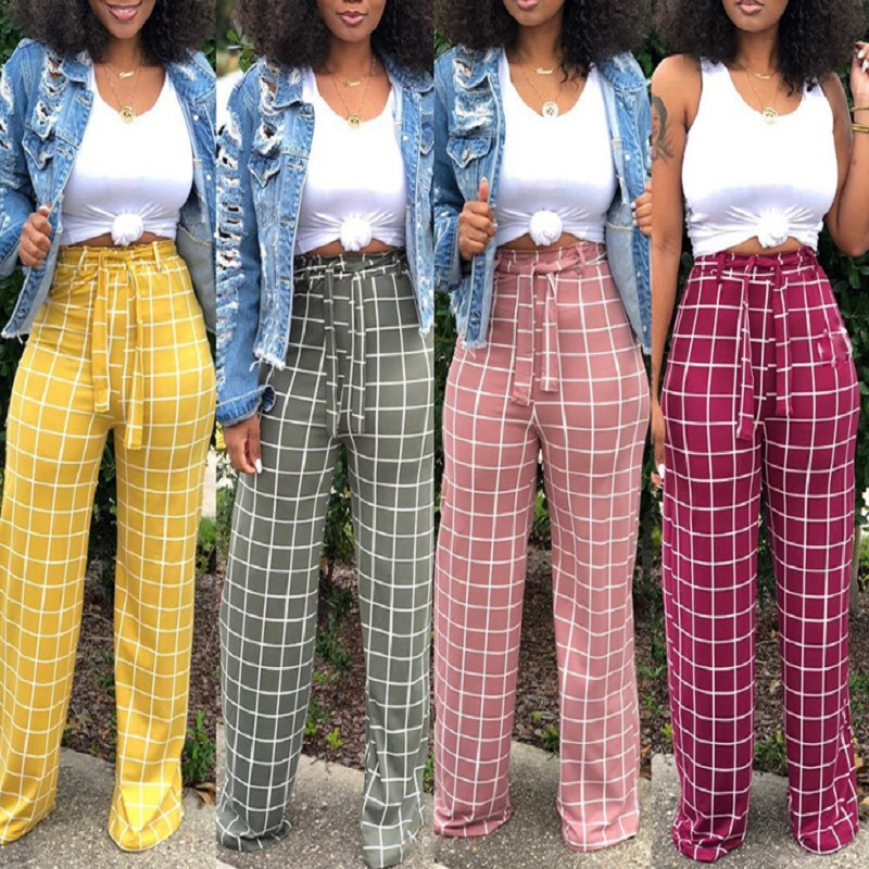 Hot style women's hot selling European and American women's plaid   wide     leg     pants   knit high waist fashion comfortable   pants
