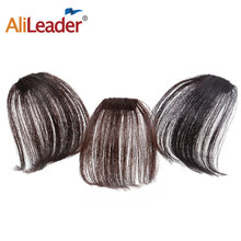 Alileader Air Flat Bangs Fringe Hair Extension Real Hair Feeling Fake Hair Piece With Side Temples Black Women Bangs Can Be Dyed(China)