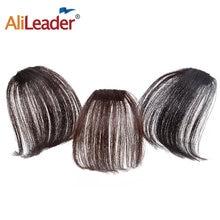 Alileader Air plat frange frange Extension de cheveux réel sentiment de cheveux faux morceau de cheveux avec des Temples latéraux noir femmes frange peut être teint