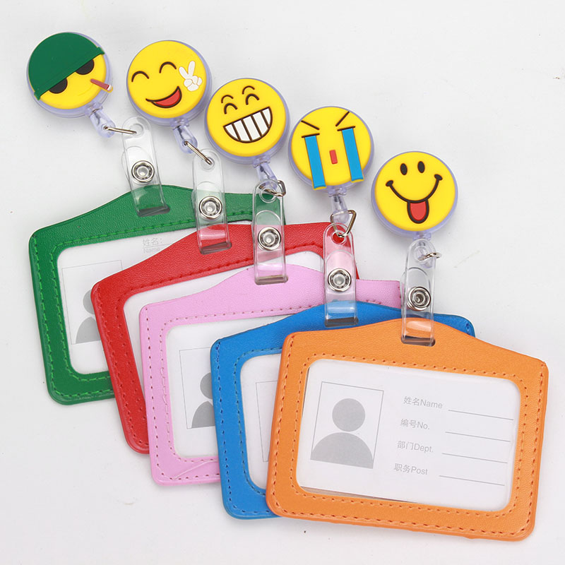 New Horizontal ID badge reel Smile Face Design Nurse Candy Color design bank credit card holder card holder K140