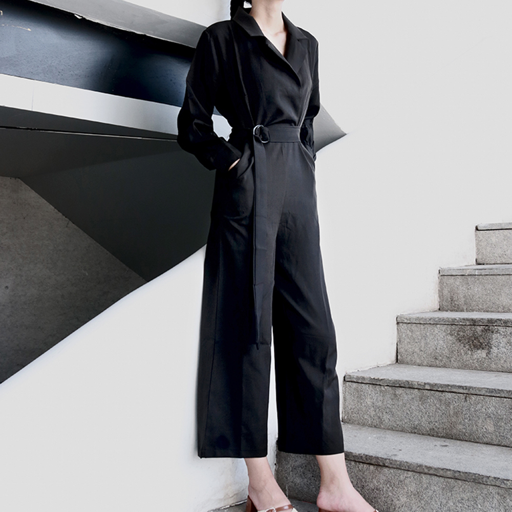 Gothic Loose Casual Jumpsuits Women Black Summer Long sleeve Elegant Straps V-Neck Sexy Rock Goth Female Retro Jumpsuit