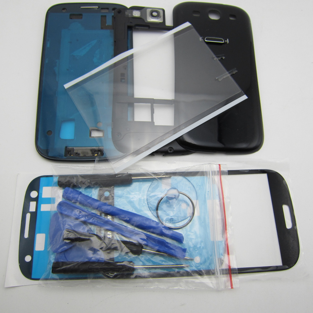 Full Housing Cover Middle Frame Battery Door Case Screen Glass Replacement for Samsung Galaxy S3 SIII