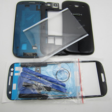 Full Housing Cover & Middle Frame & Battery Door Case & Screen Glass Replacement for Samsung Galaxy S3 SIII Gt-i9300 with tools