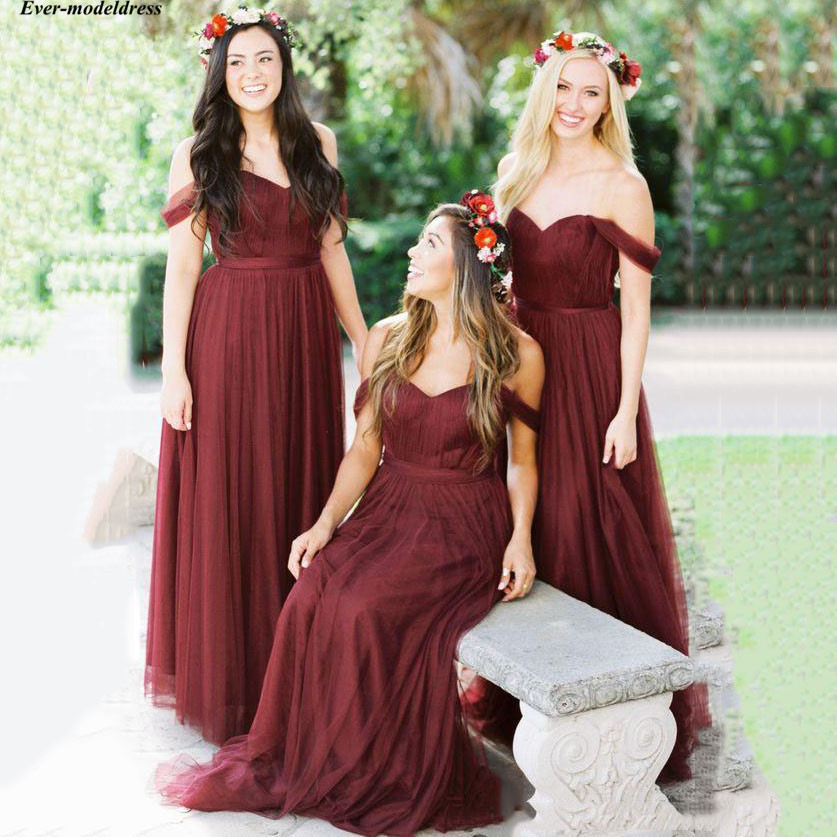 Burgundy Simple   Bridesmaid     Dresses   Off Shoulder Sleeveless Tulle Floor Length Long Wedding Guest Party Gowns Maid Of Honor
