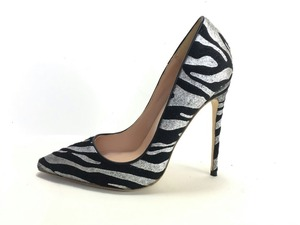 Image 4 - Keshangjia  spring autumn fashion PU pumps high heels  point  toe shoes woman striped dress shoes office lady