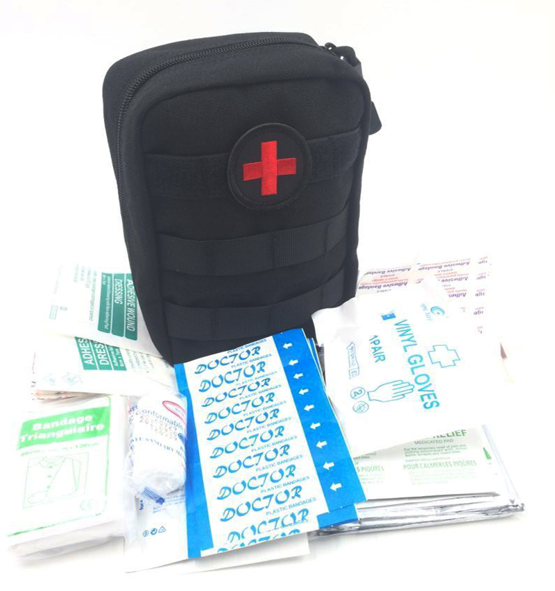 US $17 52 15% OFF|103Pcs/Pack First Aid Kit Outdoor Wilderness Black Mini  First Aid Pouch Medical Bag Military First Aid Kits Survival Kit Hiking-in