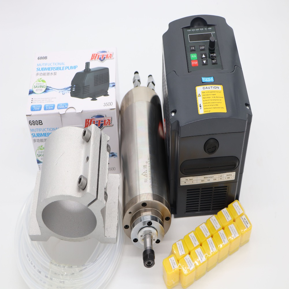 1.5KW water cooling CNC spindle motor 6A  1.5KW VFD 13 pieces ER11 collet spindle clamp water cooled device|Machine Tool Spindle| |  - title=