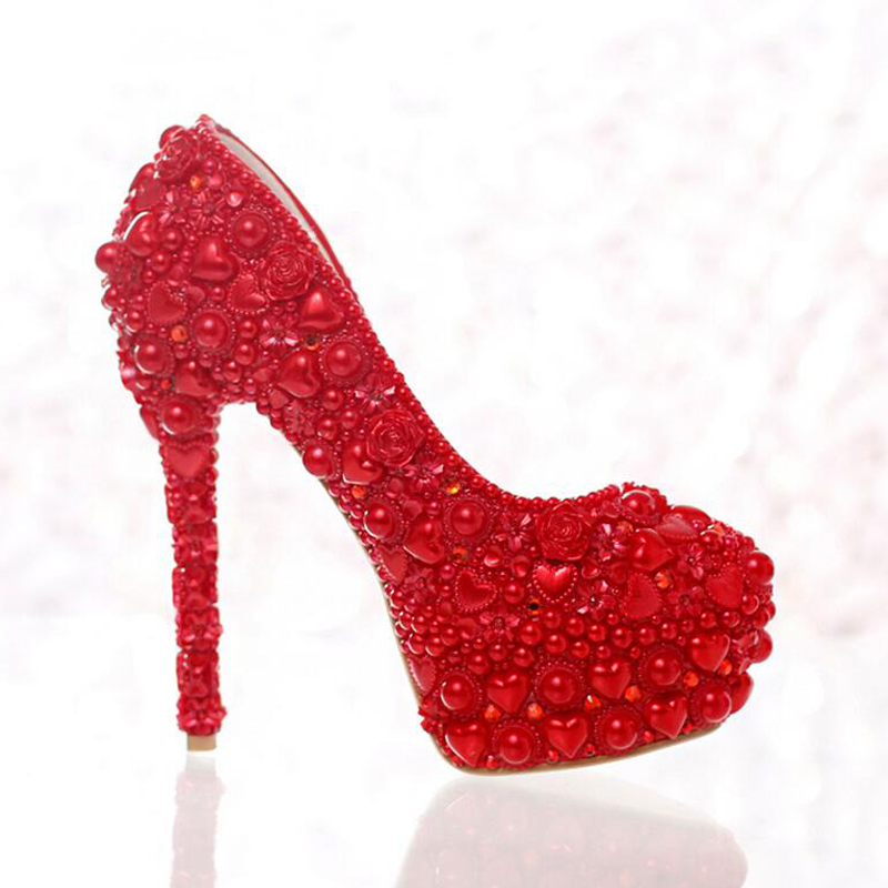 2016 New Style Red Pearl Formal Shoes Model Heart Shape Pearl Bride High Heels  Wedding Shoes Party Prom Shoes Free Shipping