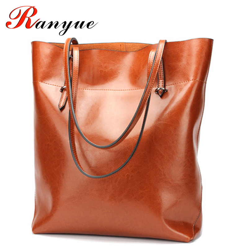 RANYUE Brand Genuine Leather Bags Bucket Tote Shopping Bags Designer Handbags High Quality Shoulder Crossbody Bags For Women women s genuine leather bucket bags ladies crossbody bags designer brand handbag causal tote big shopping shoulder bag for women