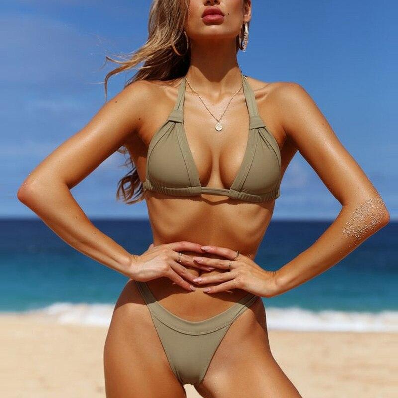 2018 New Sexy Bikinis Women Swimsuit Vintage Retro Bathing Suits Swim Halter Push Brazilian Bikini Set Plus Size Swimwear