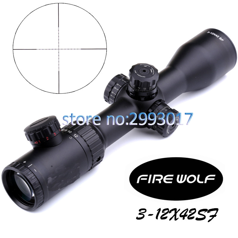 Free shipping 2017 NEW Fire Wolf 3-12X42 SF Riflescopes Rifle Scope Hunting Scope w/ Mounts fyzlicion hunting fire wolf 6 24x60 m1 riflescopes rifle scope scope free shipping
