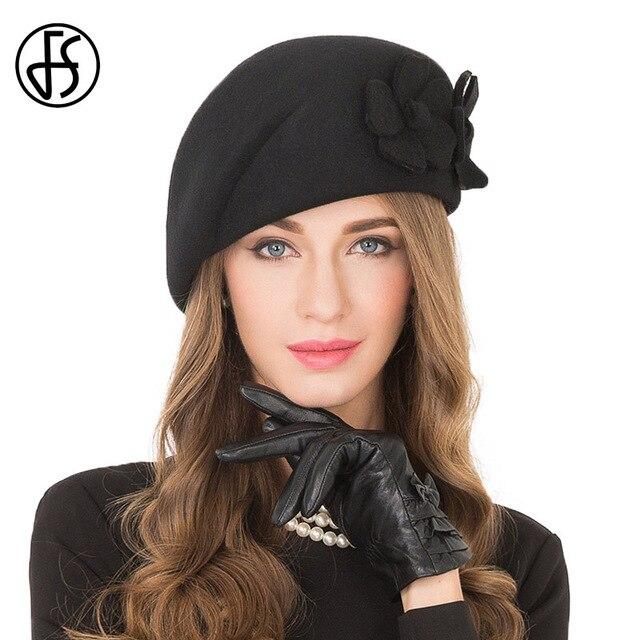 e3ec0bda2b84f FS Elegant Black Female 100% Wool Flower Fedora Hat England Style Vintage  Winter Women Felt