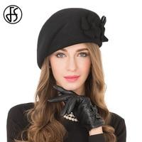 FS Elegant Female 100% Wool Flower Black Fedora Hat England Style Vintage Winter Women Felt French Beret Hats Bone Feminino