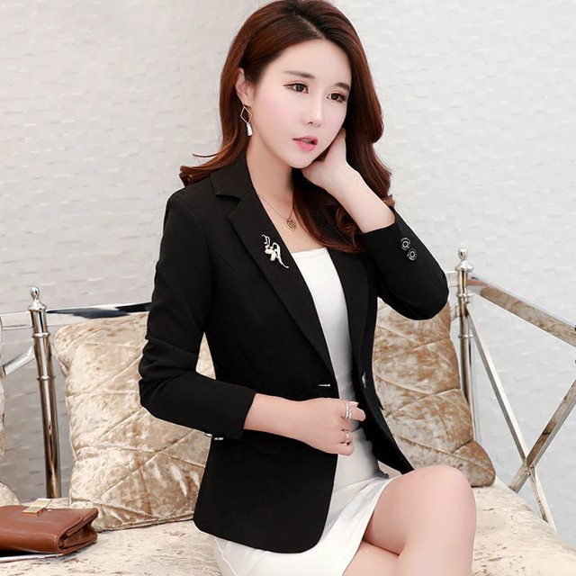 High Quality Fashion2017 Free Shipping New Autumn Winter Slim Casual Women Match Suit Short Women Blazers And Jackets Black Rose