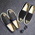 US5-11 Men Fashion REAL Leather Casual Metal Rivet Moc Toe Loafers Punk Fashion Shoes Sneakers