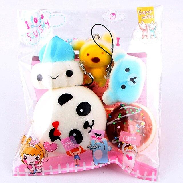 Lento Subindo Squeeze Cura Fun Toy Kids 5 pcs Médio Mini Macio Pão Mole Chave Brinquedos Descompressão Brinquedos # K4