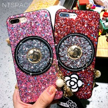NTSPACE Luxury Flower Bling Glitter Shining Flash Powder Case For iPhone X 8 7 6 6S Plus Soft Silicone Edge Protector Phone